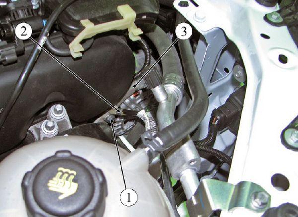 Крепление клеммы жгута провода массы к кронштейну навесных агрегатов