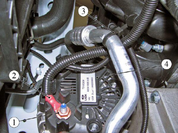 Крепление клеммы жгута проводов переднего к генератору